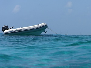 AB DInghy Enjoying Belize Clear Waters