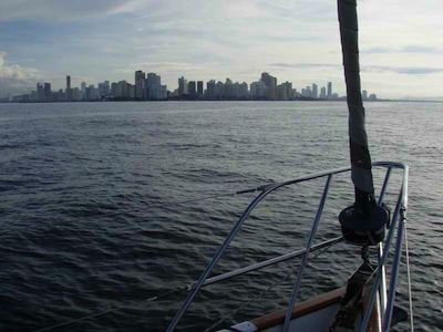 After a wonderful overnight sail, at sunrise, we're off the skyline of Cartagena, Colombia!