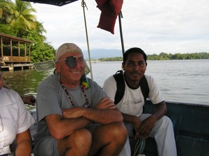 Look Closely at Buck-an-Ear, Fluttering in the Breeze in the Catamaran Launcha with Arnulfo, our Rio teak expert