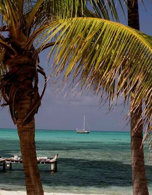 Anchored Behind Half Moon Caye, Lighthouse Reef Atoll, Belize