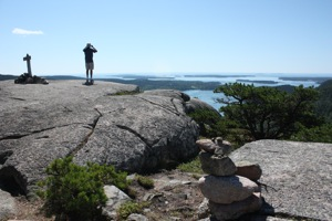 David Enjoying the View from the Summit, Acadia Mountain Trail
