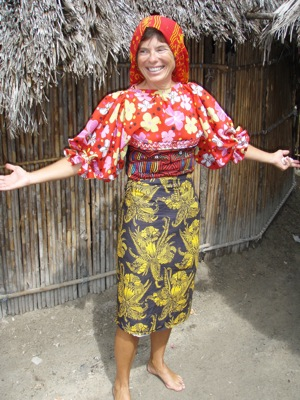 Gringa Dressed In Traditional Kuna, Entertaining the Locals