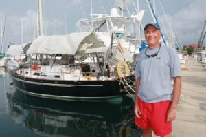 David with Winterlude Almost Ready to Leave, Shelter Bay Marina, Panama