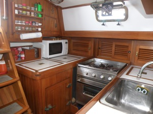 Winterlude's Galley with Eggs Stored in the Cubby Far Left