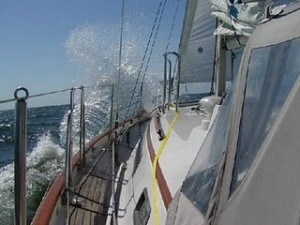 Crazy Mixed Up Waves - a Different Sail, Not as Crazy, Yellow Jacklines in Place, Thank Goodness!