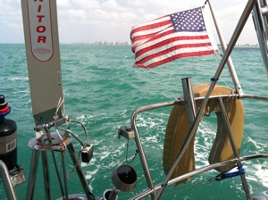 Bo, the Monitor Windvane, Sailing South of Marco Island