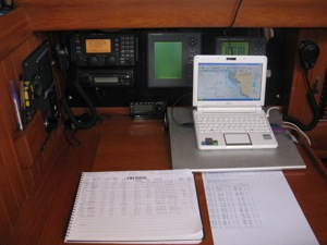 Passage from Isla to SW FL, electronic charts, cruise log, weather printout, SSB, radar