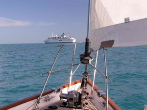 Motorsailing Behind a Cruise Ship in English Channel, Belize