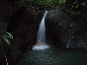 David Enjoys a Waterfall in the Rio Chagres