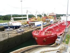 Busy Gatun Locks on the Panama Canal