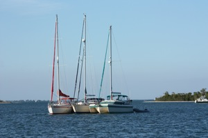 Three Rafted Boats With My Big Telephoto Lens After We Reanchored