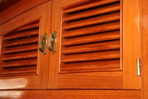 Teak Louvered Doors -- 204 louvers in the entire boat to be exact!