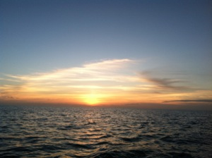 Sunset at Sea ... Unfortunately 16 miles north of the 7 Mile Bridge Markers