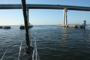 The Sanibel Causeway Bridge Looms Closer ... Why is it they always look like our mast will hit, when I KNOW it will clear!
