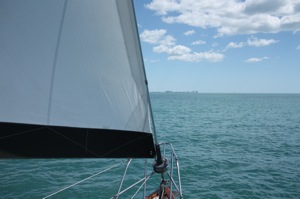 And then BOOM, the seabreeze filled in from the NW at 12-14 for a great rest of the sail - you can still see the Marco skyline, unfortunately only about 3 miles out now, but the jib's on the other side catching the seabreeze!