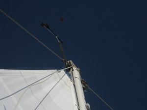 Can You See The WIndvane at the Top of the Mast?  Dead on the Nose.