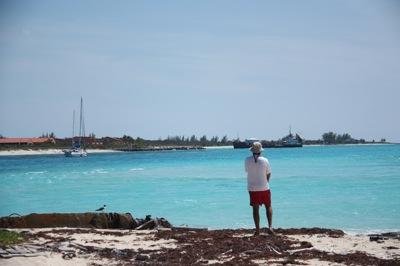 David Eyeballing the Tricky Channel We Navigated into Bimini