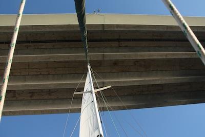 Sailing Under the Sanibel Causeway Bridge