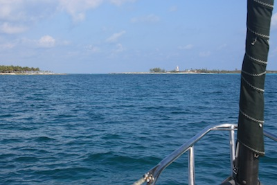 Sailing Between Gun Cay & Cat Cay, Leaving the Bahamas