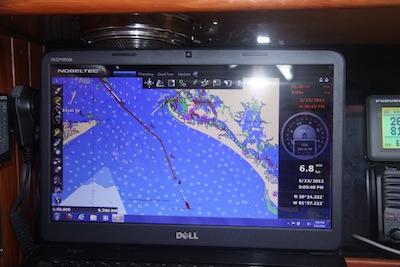 Nobeltec tracks Winterlude off the Ft Myers Beach Coastline