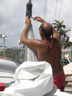 Taking the Headsail off the Roller Furling