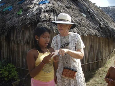 Rayene, sv Kristiana, getting a Kuna pronunciation lesson - we had index cards with a few words of the language to use to interact with the Kuna in the San Blas Islands.