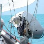 Kayak sailing happily across the Grand Bahamas Banks, read to explore the Exumas!