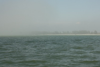Finally, we could barely see the coastline and the fog seemed to be less dense.
