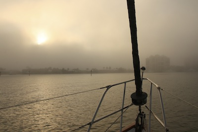 Fog Rolling in to Factory Bay, Marco Island, where we're safely anchored.