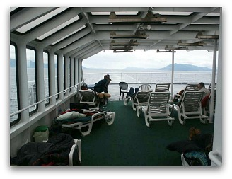 Just in case it's too cold to watch the scenery from outside, just like a cruise ship, the Alaska Ferry mv Columbia has a