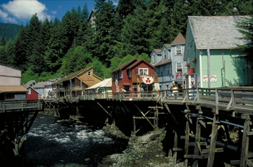 Our ferry stops in Ketchikan --Ketchikan has the world's largest collection of standing totem poles.  Plus gorgeous scenery!
