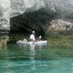 David exploring the caves by the Big Major anchorage adjacent to Staniel Cay, Exumas, Bahamas