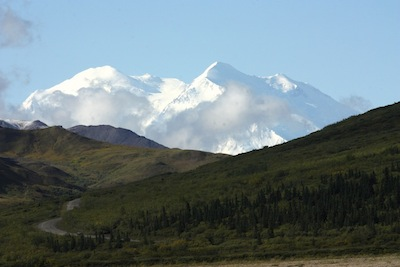 First view of Mt McKinley from Stoney Hill Overlook, Denali Park Road