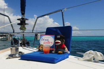Also useful aboard a BVI charter, as sock monkey demonstrates with his rum punch.