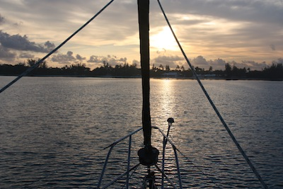 The bow solar light slides in it's housing, allowing us to remove it when we're not at anchor.