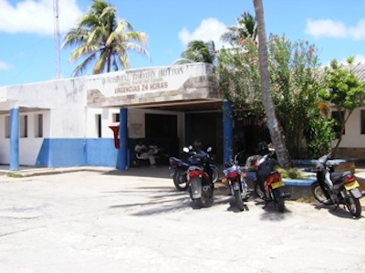 The emergency room at San Andres, Colombia ... we waited outside the solid metal doors until they cracked just enough to call us inside ... I was happy to receive good medical care.