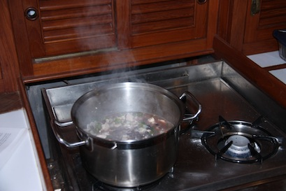 Tuxedo soup simmering on the stove, making the boat cabin nice and toasty at the same time.