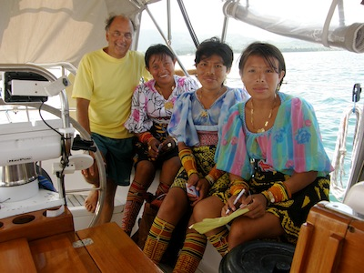 In the San Blas, we had frequent mola sales visitors and rarely invited them aboard, but these three young ladies were special and we enjoyed their company very much ... plus they make beautiful molas!