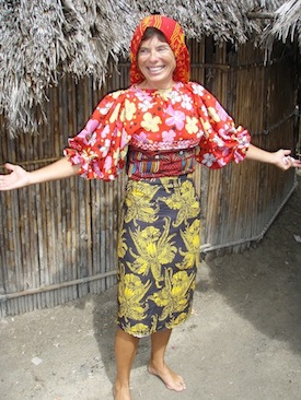 At one island, the ladies thought it would be humorous to dress me in their Kuna attire... I still own this blouse & skirt.  Not the rooster scarf though, should have bought that too!   Silly fun.