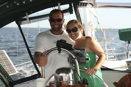 Peter & Jody sailing sv Mary Christine on Charlotte Harbor, FL