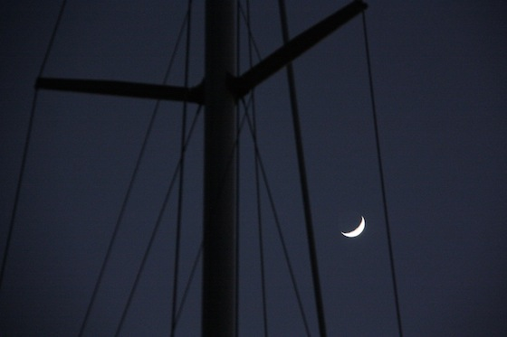 Last night's waxing crescent moon smiling at us