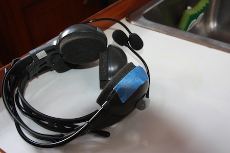 Headset with blue tape
