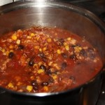 Turkey Taco Chili simmering on the stove on a cold January evening in SW Florida.