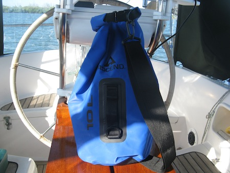Our Ascend 10L Dry Bag, ready to go dinghy exploring.