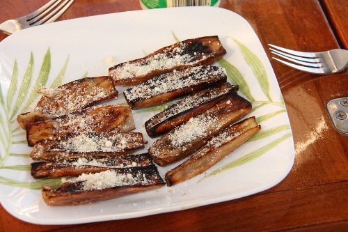 Our first attempt at grilling Japanese Eggplant wasn't perfect, but it was a different and tasty appetizer for sunset!