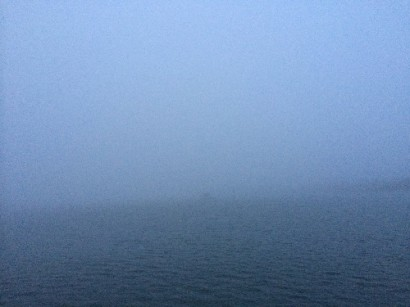 Note that behind us in the fog there are several boats anchored... just not close enough that we can see them.  :)