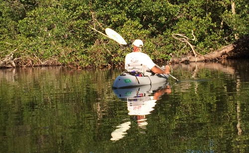 Earlier we paddled through some placid mangrove waters looking for birds and manatees.  Before I got the brilliant idea to explore the sandbar.