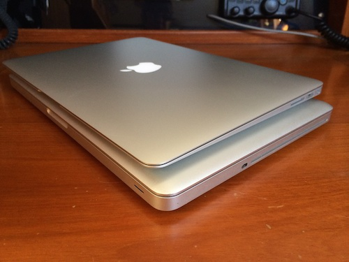 "MacBook Pro 13"" on bottom and MacBook Air 13"" on top - thinner, lighter and solid state hard drive."