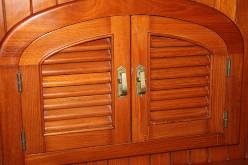 Teak Louvered Doors throughout the boat... 204 louvers to be exact.