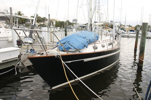 The dinghy secured on the foredeck.